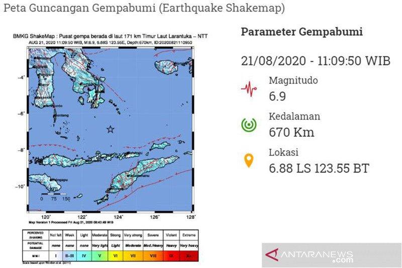 Gempa magnitudo 6,9 di Laut Banda tidak berpotensi tsunami