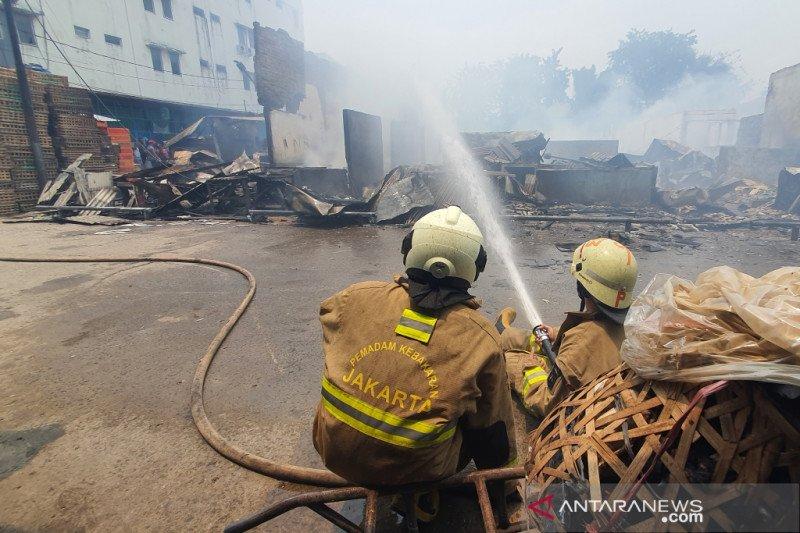 Pemadaman api di Pasar Cempaka Putih terkendala air dan angin kencang