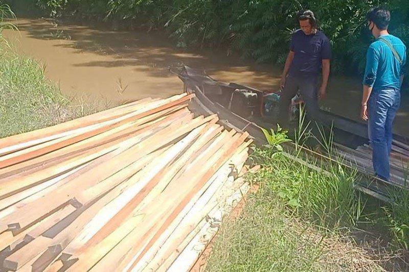Polisi Kapuas amankan ratusan potong kayu olahan tanpa dokumen