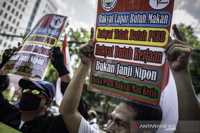 Demo tuntut pencabutan PSBB Jakarta dan pembukaan tempat hiburan malam