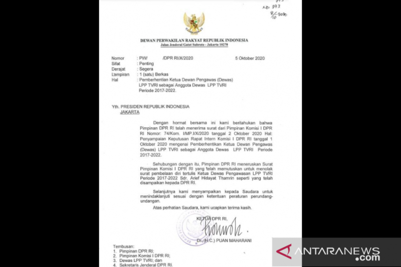 Ketua DPR kirim surat pemberhentian Ketua Dewas TVRI ke Presiden