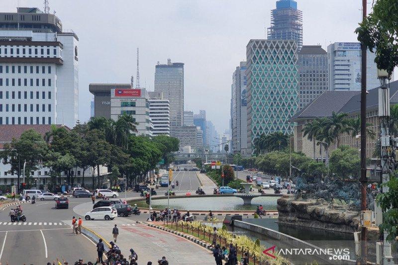Lalu lintas MH Thamrin masih terpantau lancar meski ada aksi demo