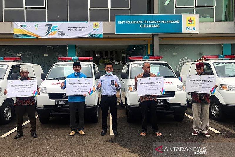 PLN Cikarang-Bekasi salurkan bantuan mobil ambulans ke empat yayasan