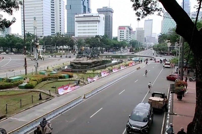 Pantauan situasi arus lalu lintas di sekitar Istana