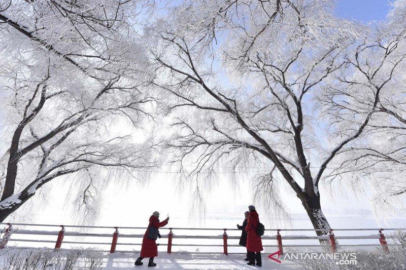 Pemandangan musim dingin di Sungai Mudanjiang China