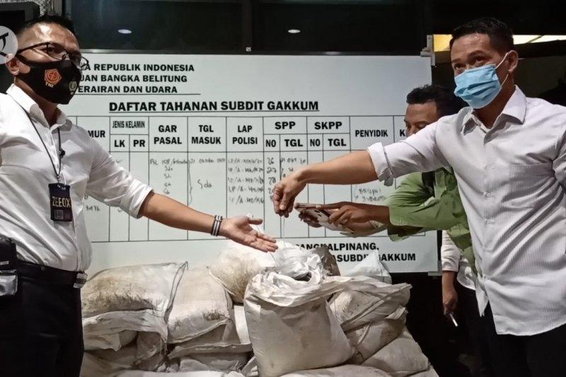 Ditpolair Polda Babel gagalkan penyelundupan 3,5 ton pasir timah