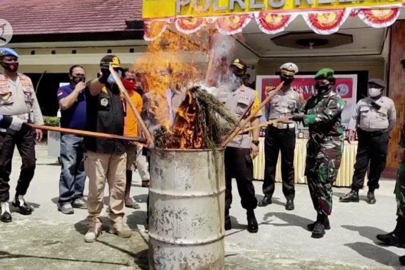 Polres Keerom musnahkan ratusan botol miras dan puluhan ganja