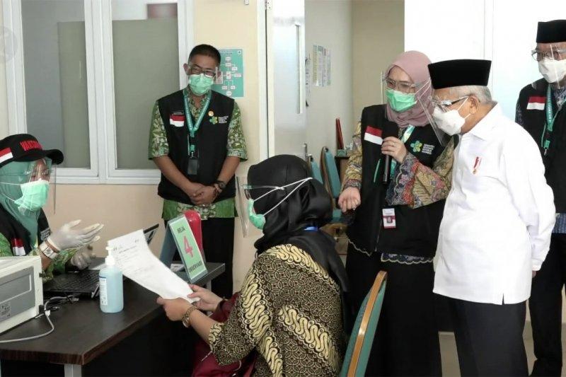 Wapres Ma'ruf tinjau simulasi vaksinasi COVID-19 di Cikarang