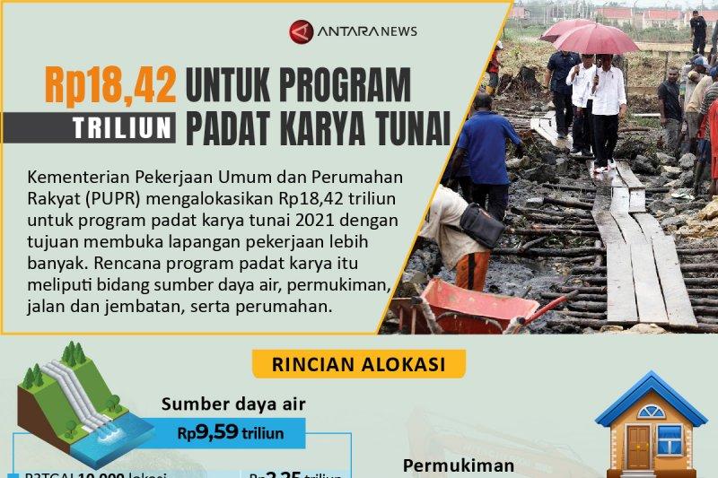Rp18,42 triliun untuk program padat karya tunai 2021
