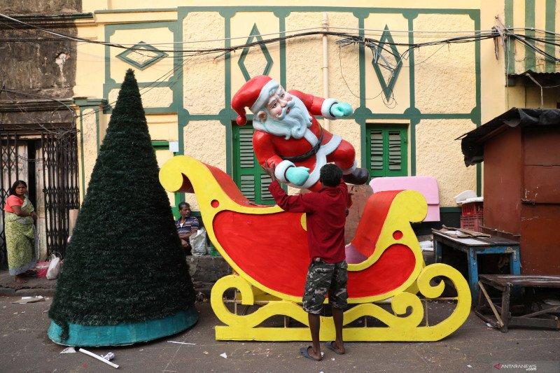 Suasana Natal di Kalkuta, India