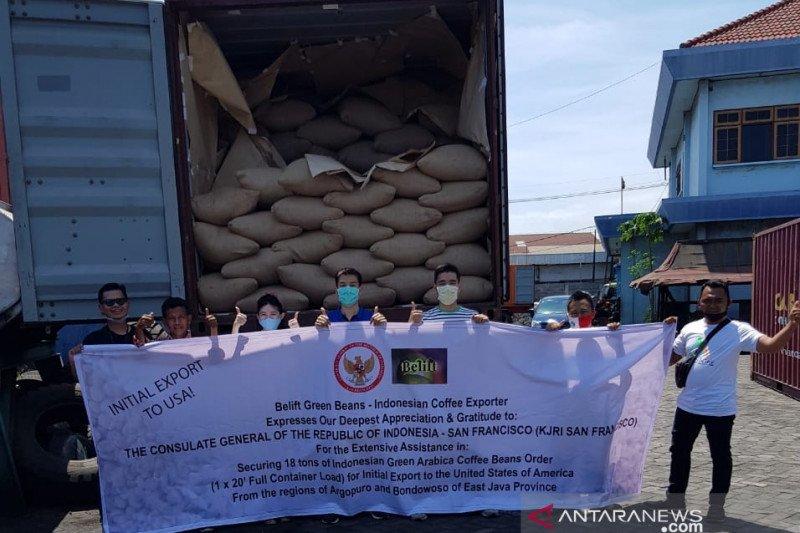 Satu kontainer kopi asal Indonesia tiba di San Fransisco