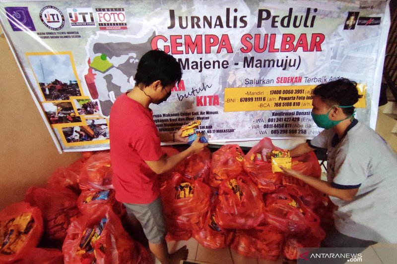 Jurnalis Peduli Sulbar salurkan bantuan korban terdampak gempa