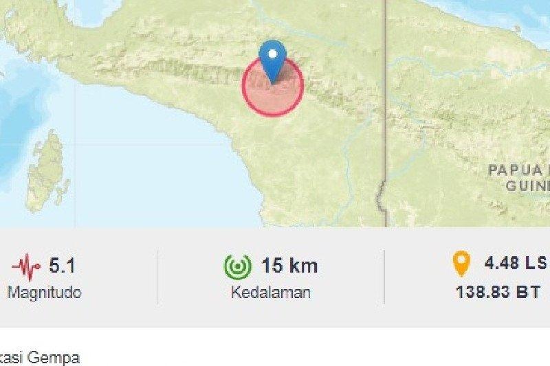 Belum ada kerusakan akibat gempa magnitudo 5,1 di Jayawijaya