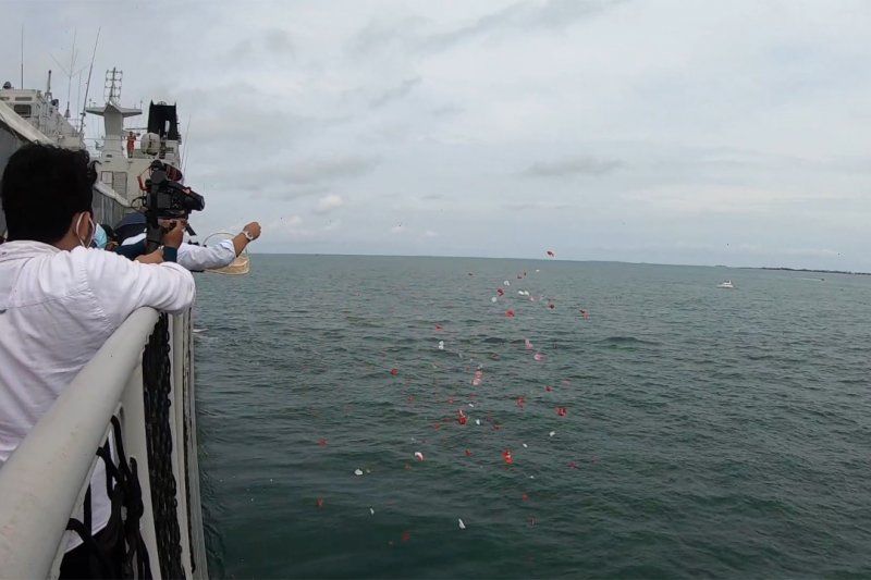 Haru, keluarga korban Sriwijaya Air tabur bunga dari atas kapal