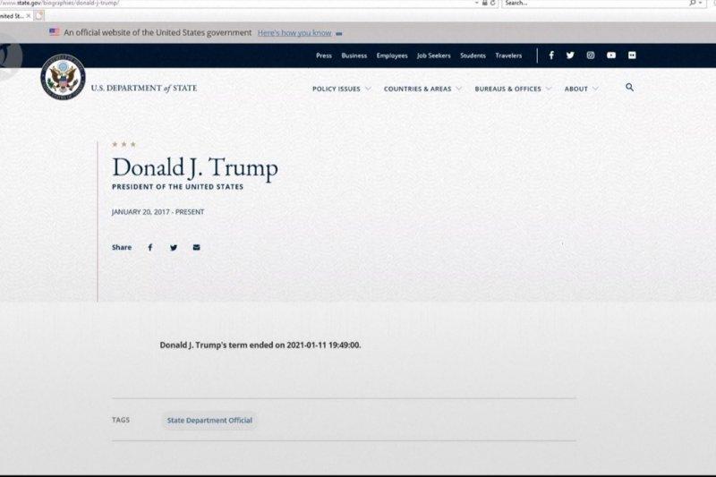 Situs Departemen Luar Negeri AS mengakhiri jabatan Trump sembilan hari lebih awal