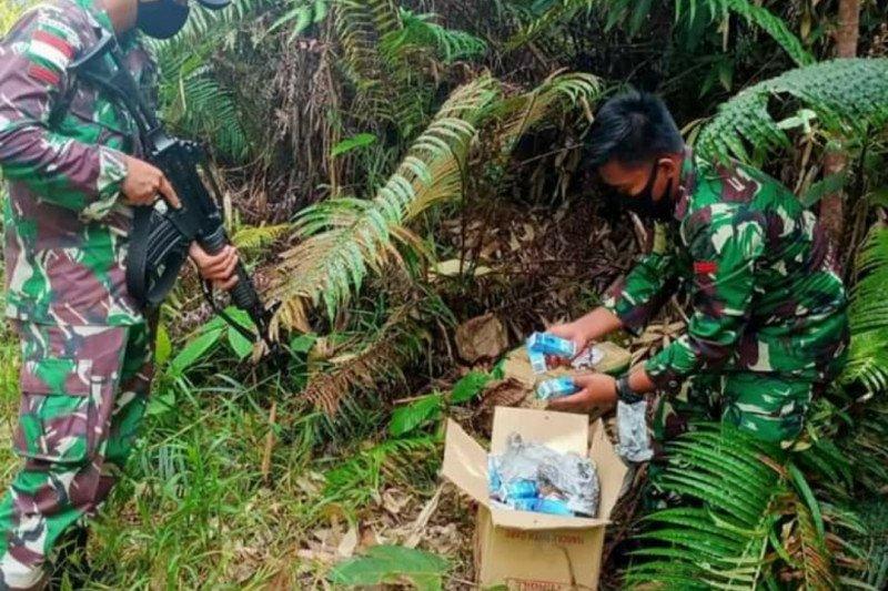 Satgas Pamtas Yon-642 amankan obat ilegal asal Malaysia