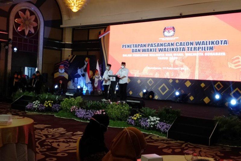 Eri-Armuji ditetapkan sebagai paslon terpilih Pilkada Surabaya