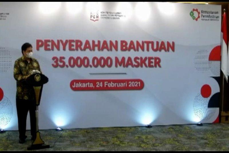 Pemerintah bagikan 35 juta masker untuk bangkitkan industri
