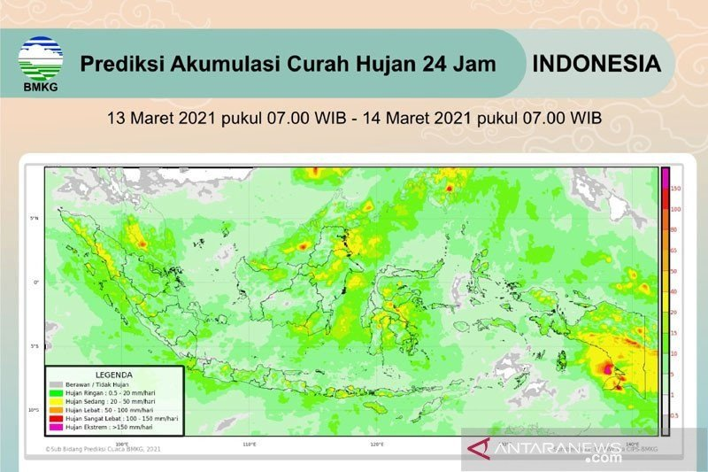 BMKG prakirakan hujan lebat di sejumlah daerah di Indonesia di antaranya NTB