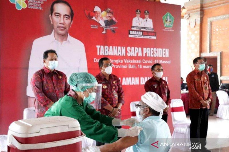 Presiden tinjau vaksinasi massal di  Tabanan secara virtual
