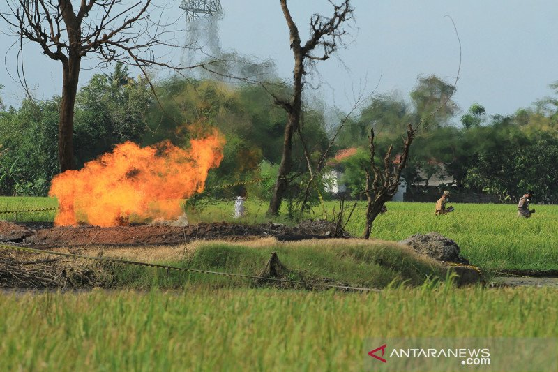 Semburan gas liar di Indramayu