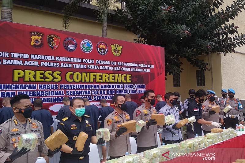 Polda Aceh tangkap sembilan anggota jaringan narkotika antarprovinsi