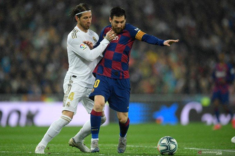 Ramos: Madrid bisa raih lebih banyak trofi bila Barcelona tanpa Messi