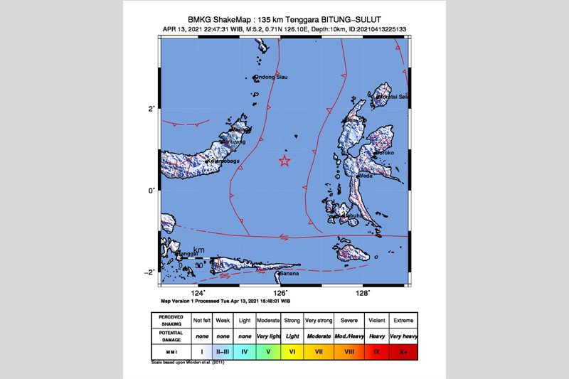 Gempa magnitudo 5,6 guncang Sulawesi Utara