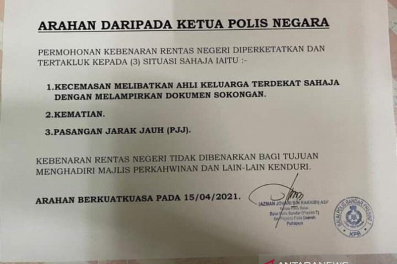 Polisi Malaysia perketat izin lintas provinsi