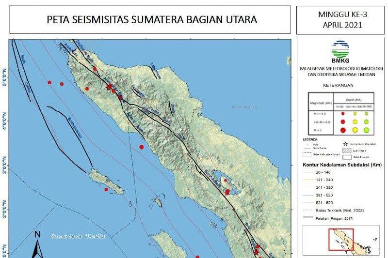 Pekan ketiga April terjadi 27 gempa di Sumbagut