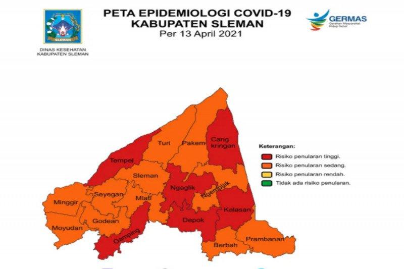 Masih ada enam kecamatan dengan zona merah COVID-19 di Sleman