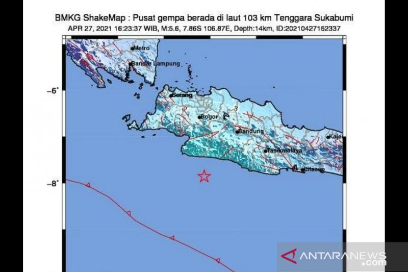 Gempa tektonik magnitudo 5,6 Jabar tak berpotensi tsunami