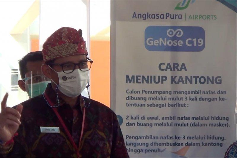 Bandara Ngurah Rai gunakan Genose C-19, Sandi Uno sebut kebangkitan pariwisata