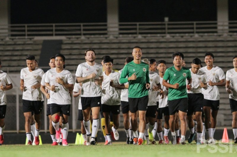 Timnas Indonesia antusias jalani latihan perdana