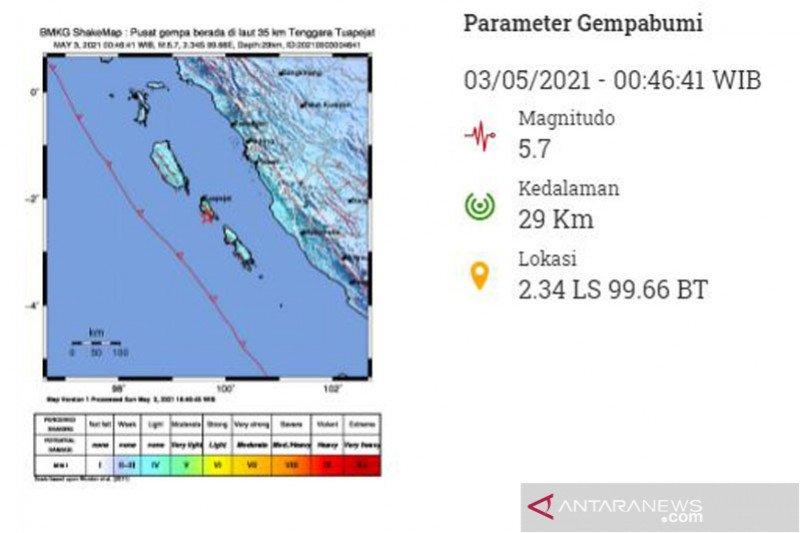 Gempa 5,7 M Kepulauan Mentawai, warga Tupejat siaga di gereja