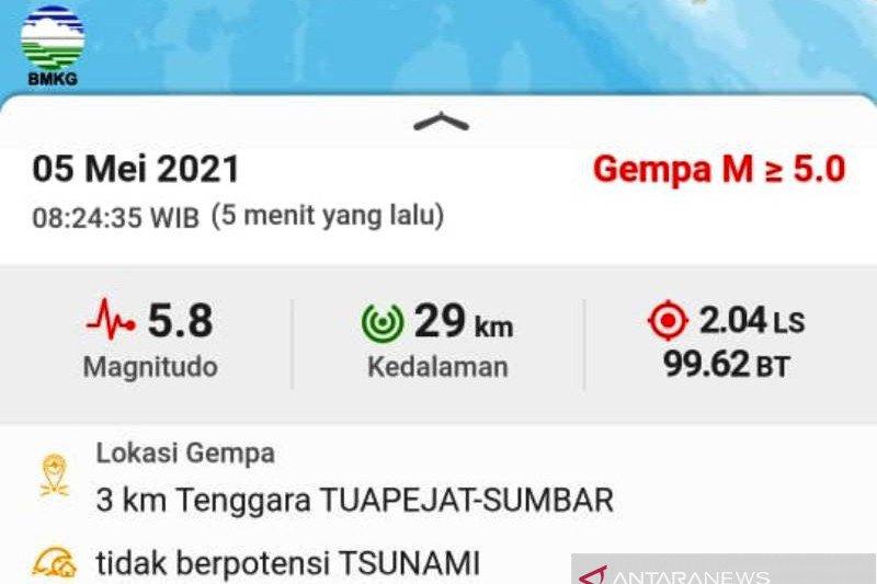Gempa magnitudo 5,8 di Mentawai tak berpotensi tsunami