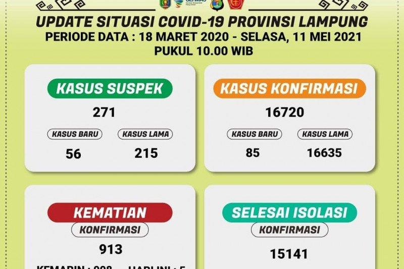 Positif COVID-19 di Lampung bertambah 85 menjadi 16.720 kasus