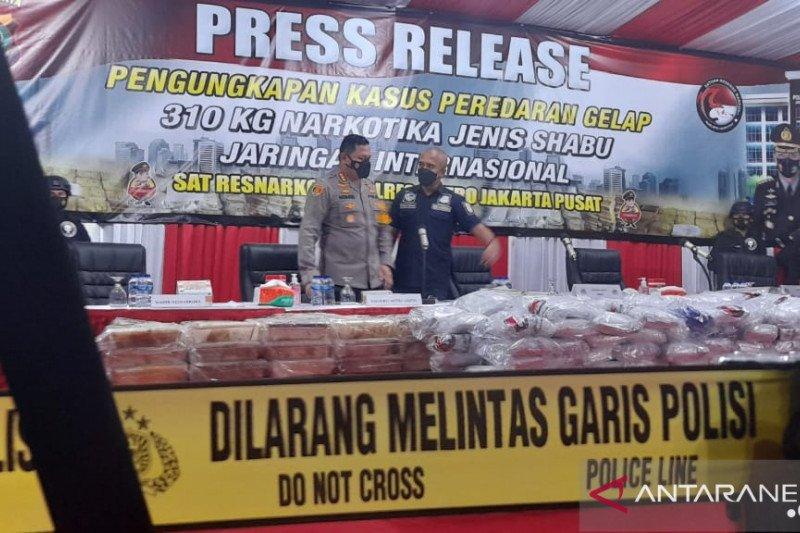 Polisi menggagalkan upaya sindikat internasional untuk memperdagangkan sabu-sabu 310 kg