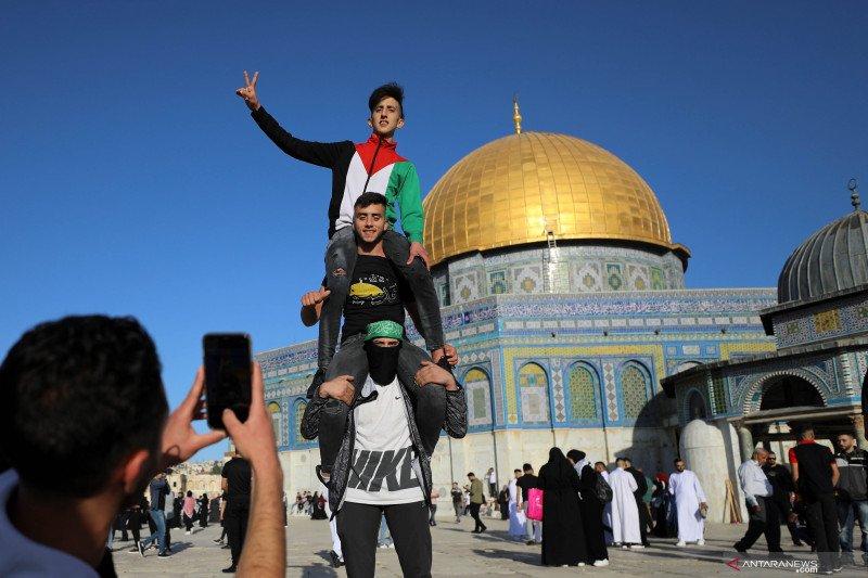 Dome of the Rock usai shalat Idul Fitri 1442 H