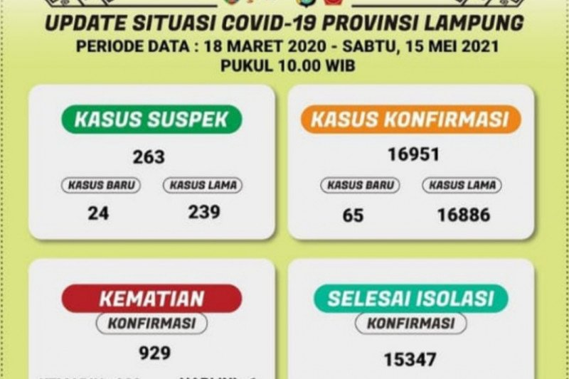 Kasus terkonfirmasi positif COVID-19 Lampung bertambah 65 orang