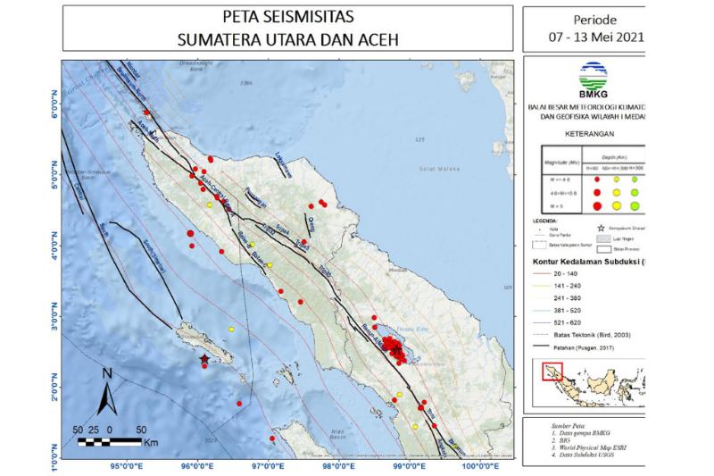 Pekan kedua Mei terjadi 115 gempa di Sumut-Aceh