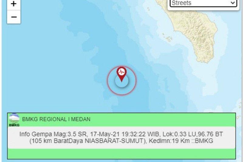 Gempa magnitudo 5,1 Nias Barat tidak berpotensi tsunami