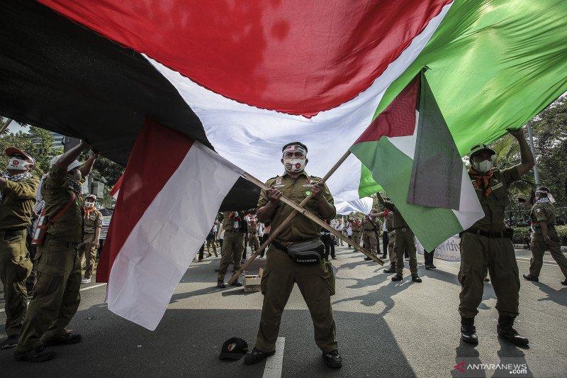 Aksi bela Palestina di Kedubes AS