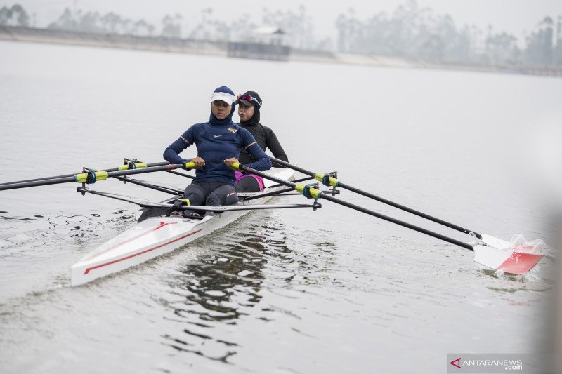 Latihan atlet dayung Rowing untuk Olimpiade Tokyo 2020