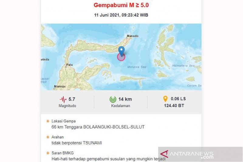 Gempa bumi magnitudo 5,7 guncang Sulut