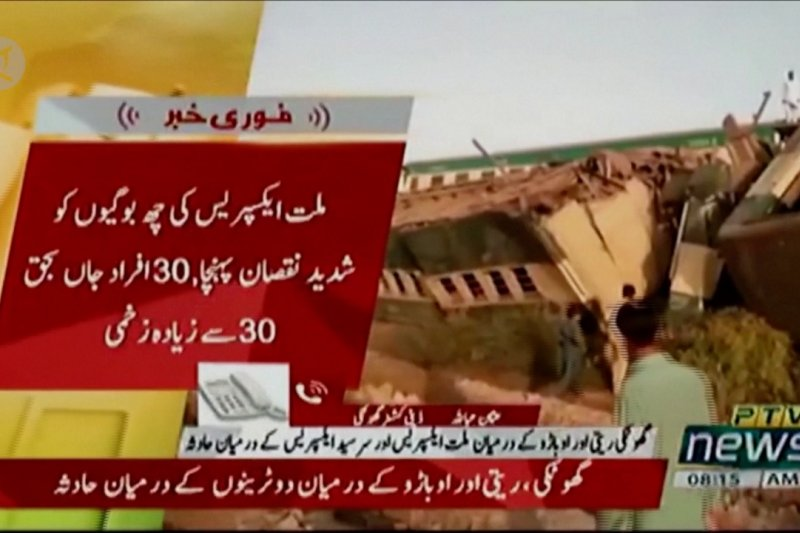 Lebih dari 30 orang tewas dalam tabrakan kereta di Pakistan selatan