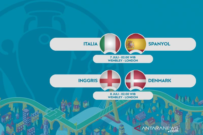 Semifinal Euro 2020: Italia ladeni Spanyol, Inggris ditantang Denmark