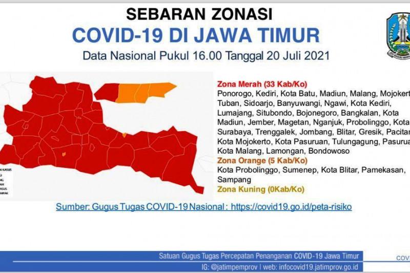 Satgas: 33 kabupaten/kota di Jatim berstatus zona merah COVID-19