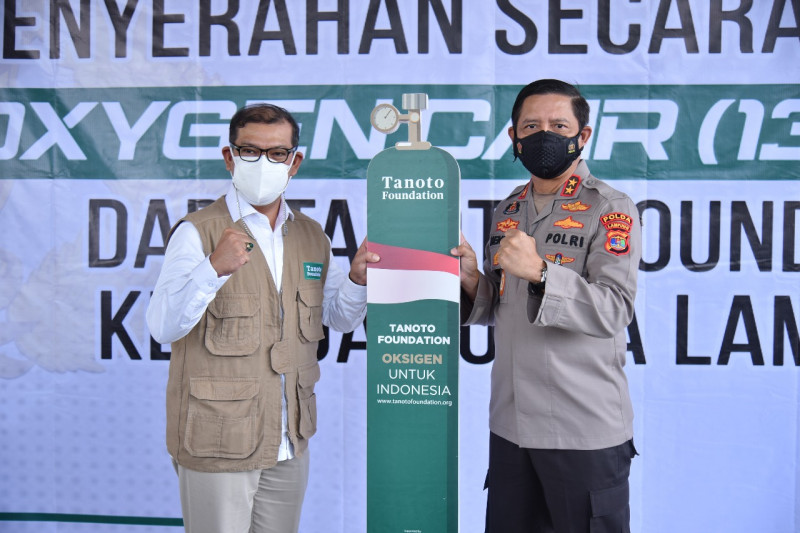 Polda Lampung terima 13,5 ton oksigen dari Tanoto Foundation