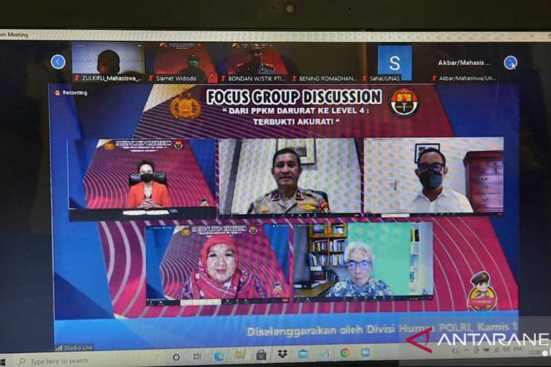 Divisi Humas Polri gelar 'FGD' apresiasi hasil positif PPKM Darurat